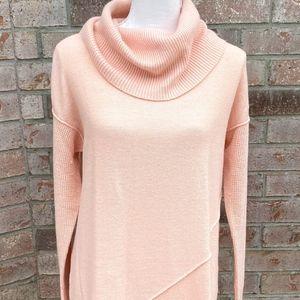 Catherine Malandrino Peach Tunic Cowl Neck Sweater